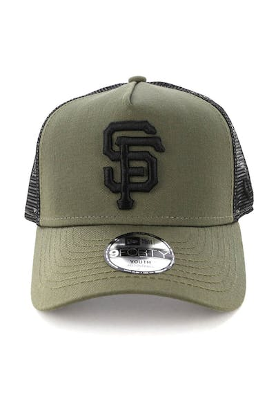 New Era Youth San Francisco Giants 9FORTY A-Frame Trucker Snapback Olive/Black