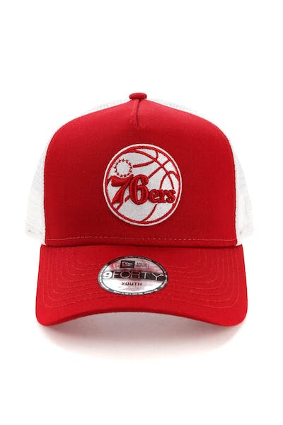 New Era Youth Philadelphia 76ers 9FORTY A-Frame Trucker Scarlet/White
