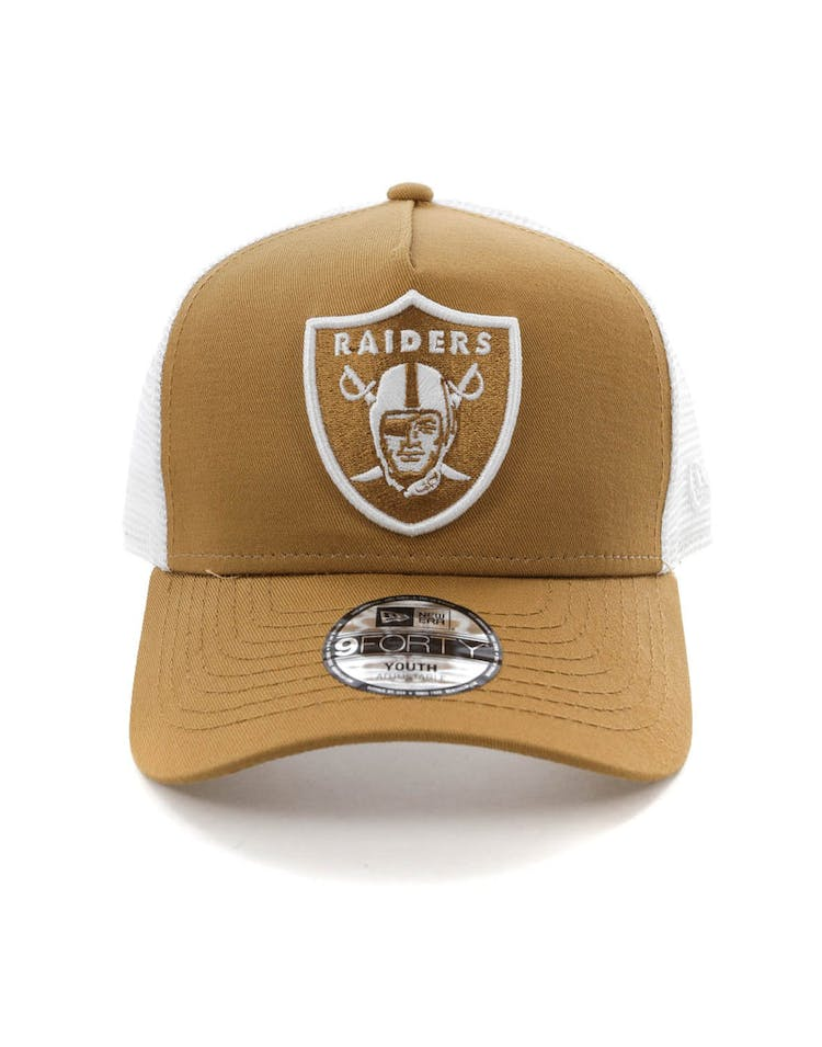02f2a617 New Era Youth Raiders 9FORTY A-Frame Trucker Snapback Wheat/White – Culture  Kings