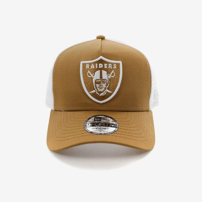New Era Youth Raiders 9FORTY A-Frame Trucker Snapback Wheat White – Culture  Kings af2ffbb9c183