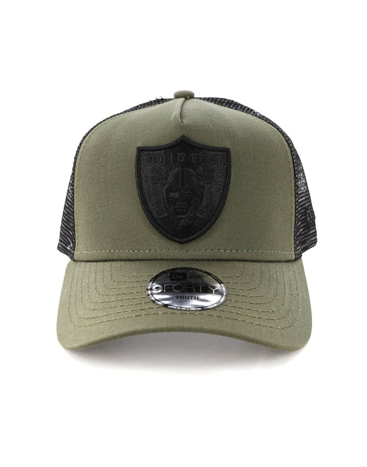 newest 1671b 2c63f New Era Youth Raiders 9FORTY A-Frame Trucker Snapback Olive Black – Culture  Kings
