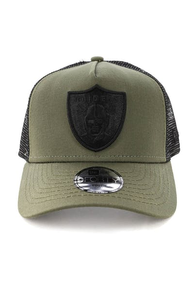 New Era Youth Raiders 9FORTY A-Frame Trucker Snapback Olive/Black