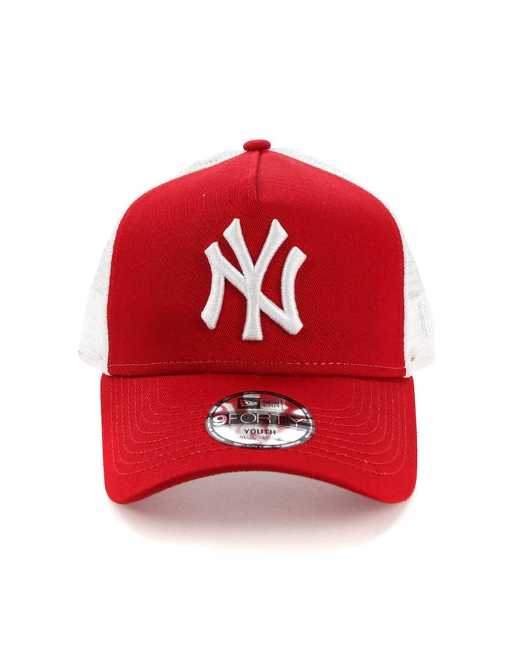 c963a075485922 New Era Youth New York Yankees 9FORTY A-Frame Trucker Scarlet/White –  Culture Kings