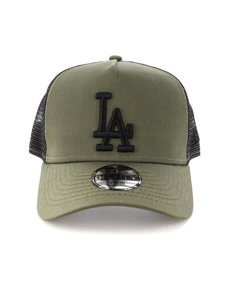 New Era Youth Los Angeles Dodgers 9FORTY A-Frame Trucker Snapback Olive/Black