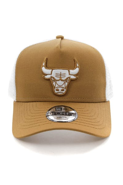 New Era Youth Chicago Bulls 9FORTY A-Frame Trucker Snapback Wheat/White