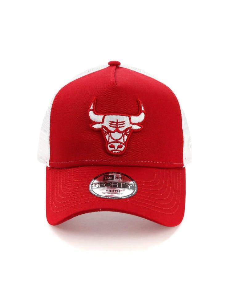 391dd034e5786 New Era Youth Chicago Bulls 9FORTY A-Frame Trucker Scarlet White – Culture  Kings