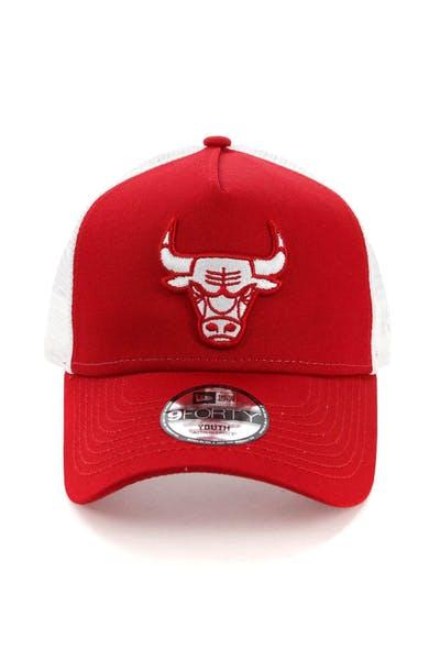 25cf5c92 New Era Youth Chicago Bulls 9FORTY A-Frame Trucker Scarlet/White