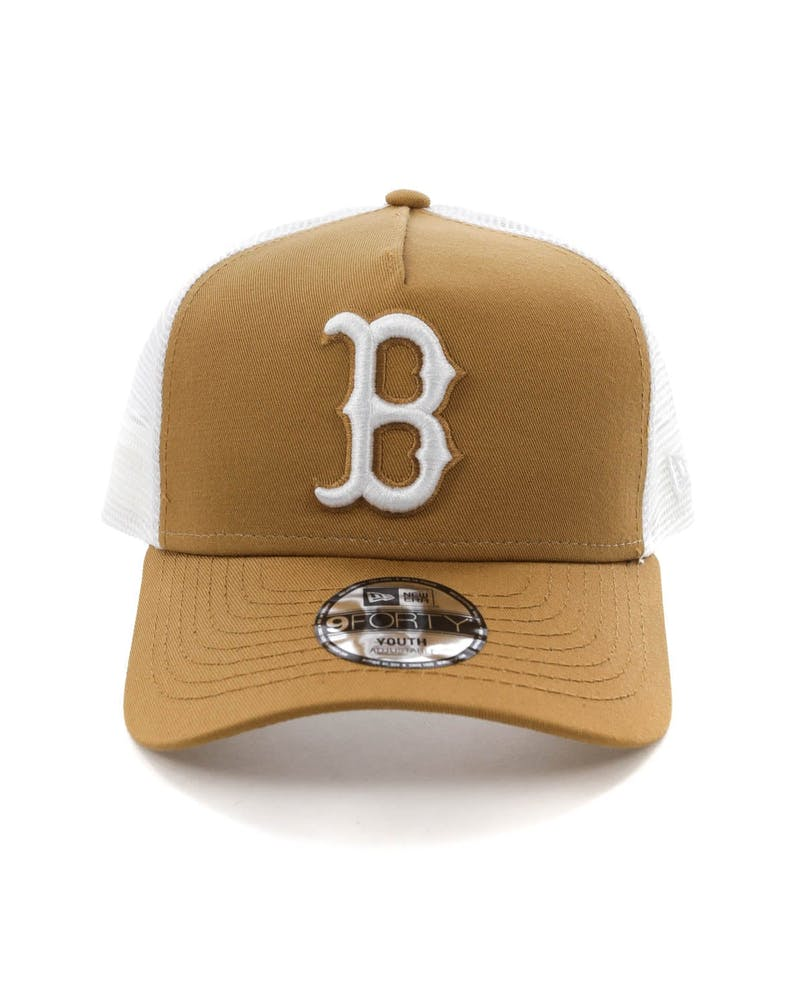 New Era Youth Boston Red Sox 9FORTY A-Frame Trucker Snapback Wheat/White