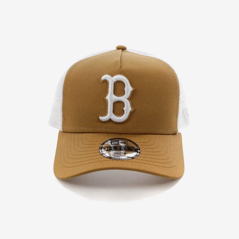 69c9b1eaa11 New Era Youth Boston Red Sox 9FORTY A-Frame Trucker Snapback Wheat Whi – Culture  Kings