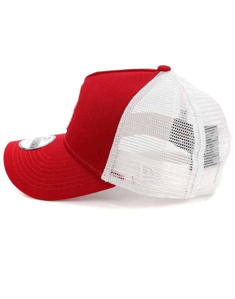 New Era Youth Boston Red Sox 9FORTY A-Frame Trucker Scarlet/White