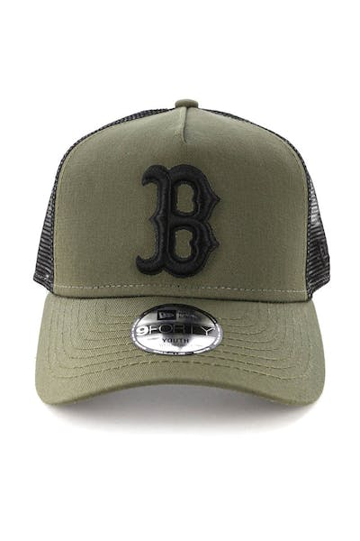 New Era Youth Boston Red Sox 9FORTY A-Frame Trucker Snapback Olive/Black
