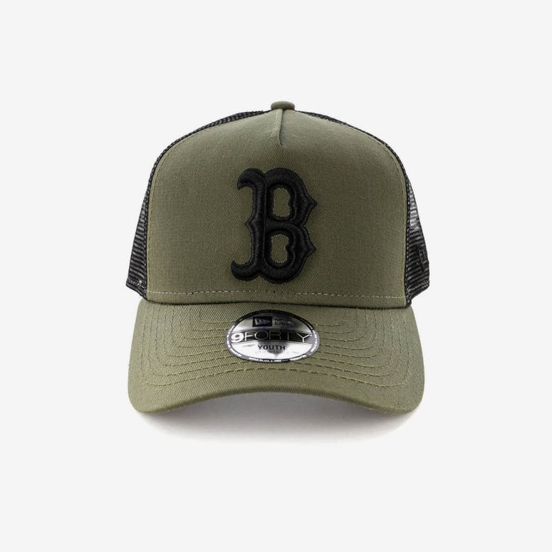 3e0e23115d4 New Era Youth Boston Red Sox 9FORTY A-Frame Trucker Snapback Olive Bla – Culture  Kings