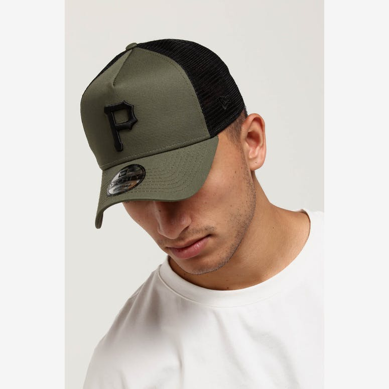 1cd1488e380 New Era Pittsburgh Pirates 9FORTY A-Frame Trucker Snapback Olive Black – Culture  Kings