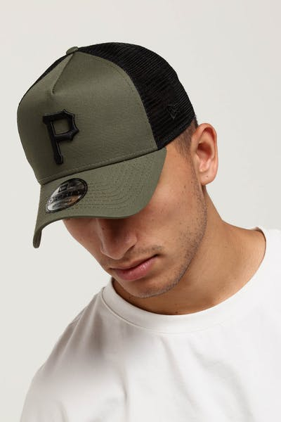 New Era Pittsburgh Pirates 9FORTY A-Frame Trucker Snapback Olive/Black
