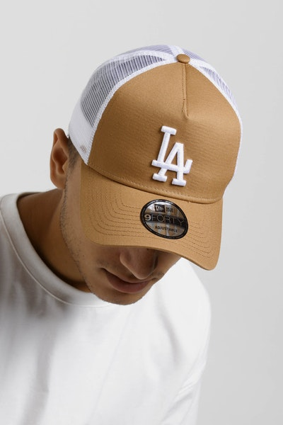 New Era Los Angeles Dodgers 9FORTY A-Frame Trucker Snapback Wheat/White