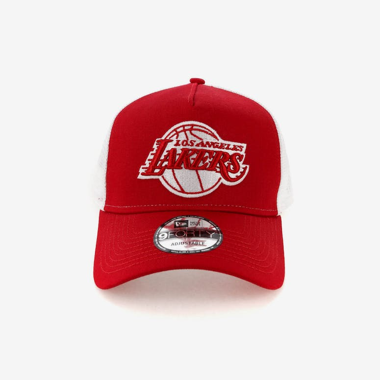 751ba6a2737 New Era Los Angeles Lakers 9FORTY A-Frame Trucker Snapback Scarlet Whi –  Culture Kings