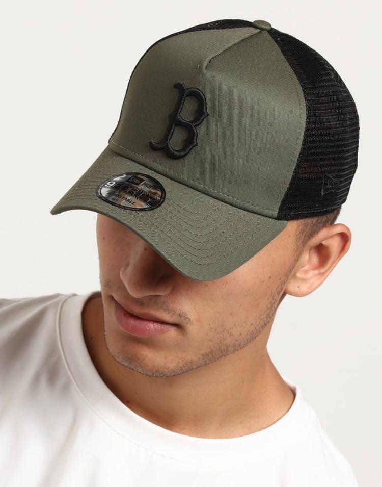 23973ae0 New Era Boston Red Sox 9FORTY A-Frame Trucker Snapback Olive/Black –  Culture Kings
