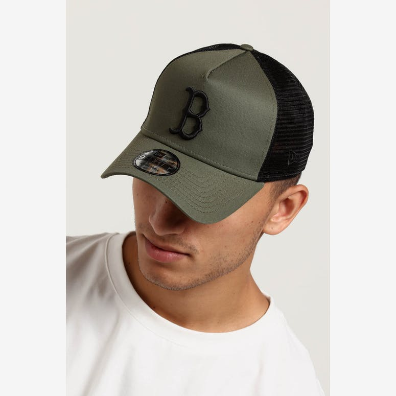 44662469106 New Era Boston Red Sox 9FORTY A-Frame Trucker Snapback Olive Black – Culture  Kings