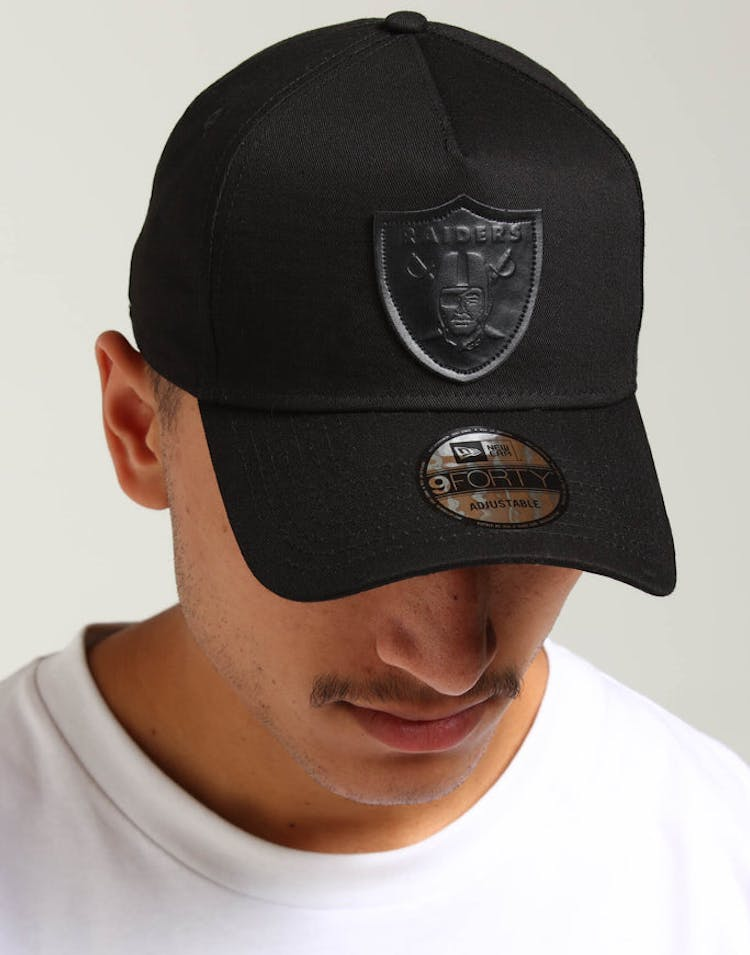 6139de27 New Era Raiders 9FORTY A-Frame Leather Logo Strapback Black Leather