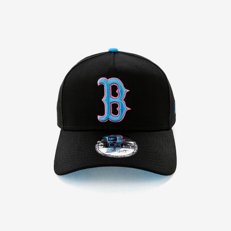 New Era Boston Red Sox 9FORTY A-Frame Snapback Black/Pink Neon