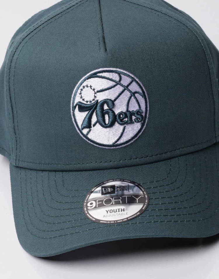 best sneakers 7c229 f8455 New Era Youth Philadelphia 76ers 9FORTY A-Frame Snapback Blue Spruce