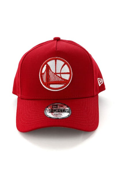 New Era Youth Golden State Warriors CK 9FORTY A-Frame Snapback Scarlet/Grey