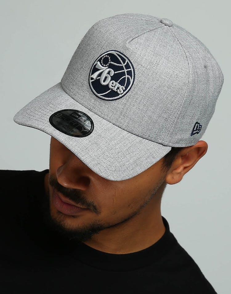 ac3439f23d412 New Era Philadelphia 76ers 9FORTY A-Frame Snapback Heather Grey Navy –  Culture Kings