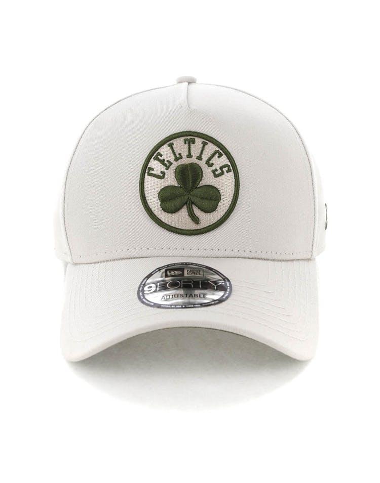 promo code c6547 35ddc New Era Boston Celtics 9FORTY A-Frame Snapback Stone Olive