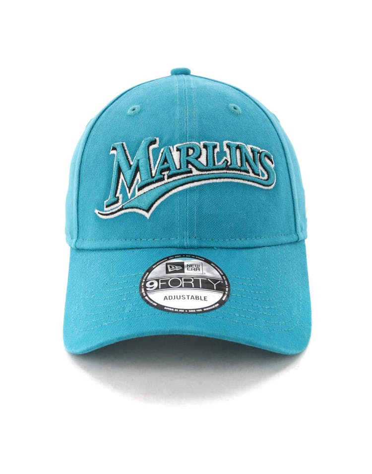 newest 00146 a5ac7 New Era Miami Marlins Coop 9FORTY Cloth Buckle Strapback Teal