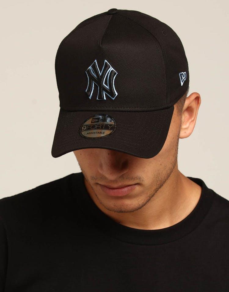 04a6f03f61d New Era New York Yankees 9FORTY A-Frame Snapback Black Sky Blue – Culture  Kings