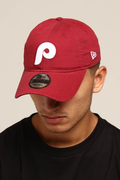 671500a7406 New Era Philadelphia Phillies Coop 9TWENTY Cloth Strapback Cardinal
