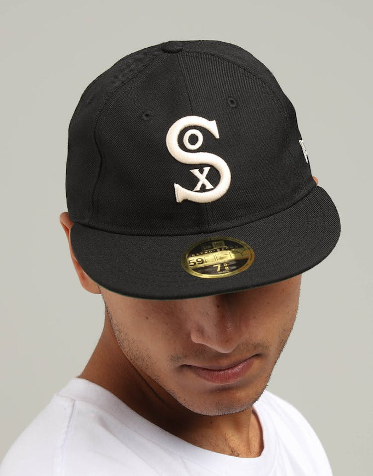 half off e6767 94240 New Era Chicago White Sox Coop 59FIFTY Retro Crown Fitted Black Tan