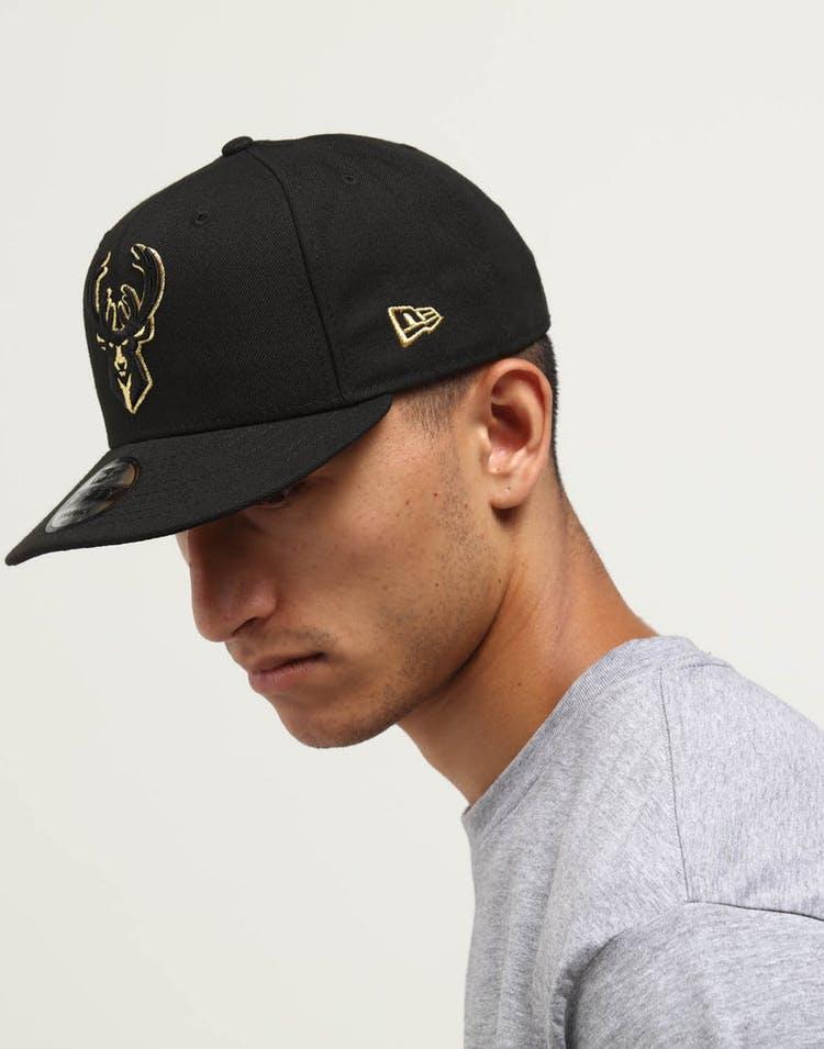 online store 1f53e 70173 New Era Milwaukee Bucks 9FIFTY Snapback Black Gold
