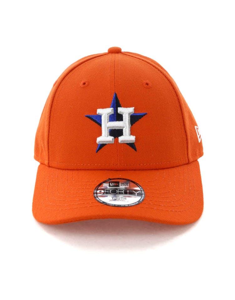 217378636 New Era Youth Houston Astros 9FORTY Hook N Loop Orange