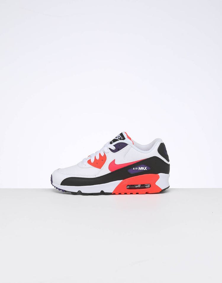 newest 3fc11 f5f98 Nike Kids Air Max 90 Leather (GS) White/Multi-Coloured