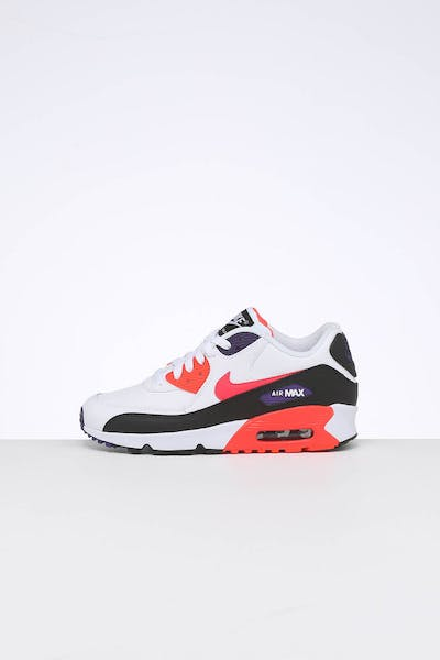 Nike Kids Air Max 90 Leather (GS) White/Multi-Coloured
