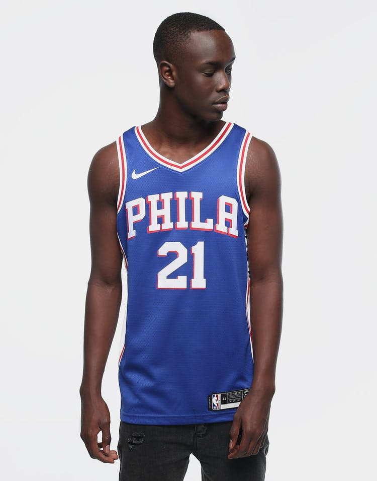NIKE 76ERS EMBIID #21 ICON EDITION SWINGMAN BLUE