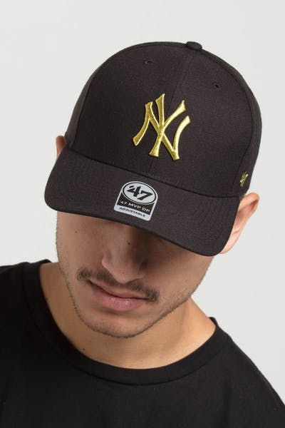 wholesale dealer 7a274 e29db 47 Brand Yankees CZ Metallic MVP DP Strapback Black Gold. 47 brand logo