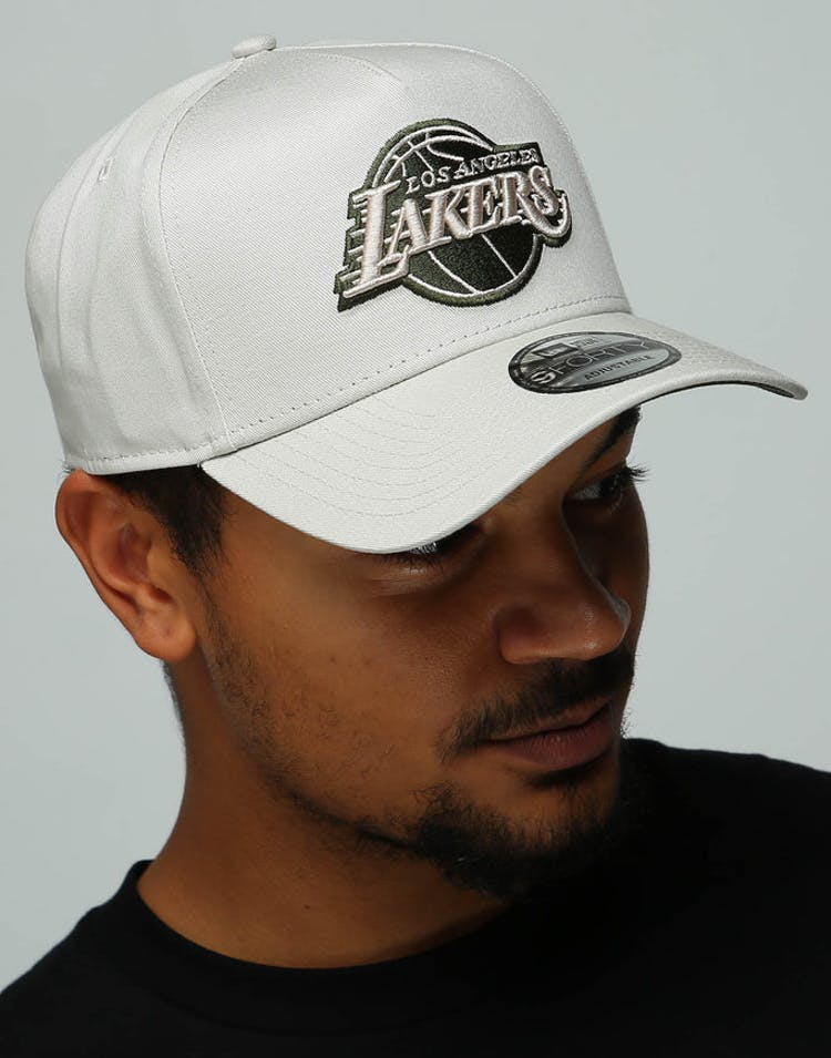 0a9b1c8a0d08ea New Era Los Angeles Lakers 9FORTY A-Frame Snapback Stone/Olive – Culture  Kings