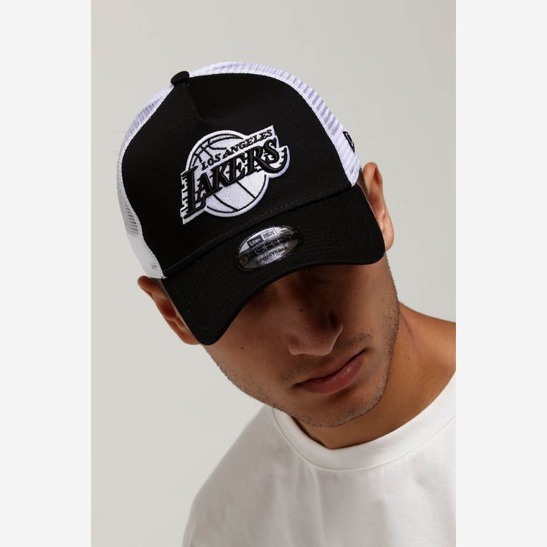 98e50c8edde New Era Los Angeles Lakers 9FORTY A-Frame Trucker Snapback Black White –  Culture Kings