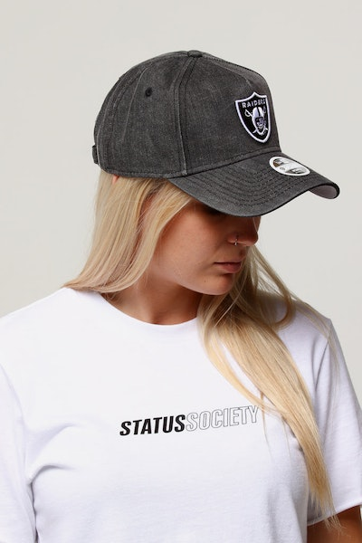 New Era Women's Raiders 9FORTY A-Frame Strapback Black Denim/White