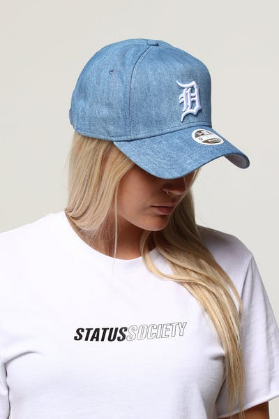 los angeles 25559 1d87b New Era Women s Detroit Tigers 9FORTY A-Frame Strapback Light Denim White  ...