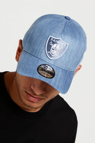 New Era Raiders 9FORTY A-Frame Snapback Light Denim/White