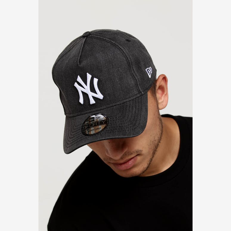cd50fab482e New Era New York Yankees 9FORTY A-Frame Snapback Black Denim White –  Culture Kings