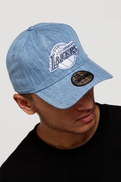 a7bd2139467 New Era Los Angeles Lakers 9FORTY A-Frame Snapback Light Denim White