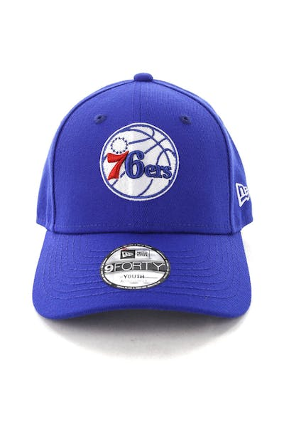 3aaa35da27819 New Era Youth Philadelphia 76ers 9FORTY H L Strapback Blue