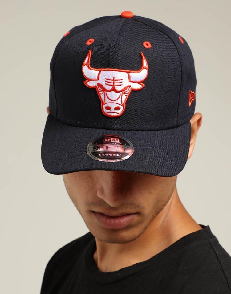 online store 75f3a 0d304 New Era Chicago Bulls 9FIFTY Precurved Snapback Navy White Orange – Culture  Kings