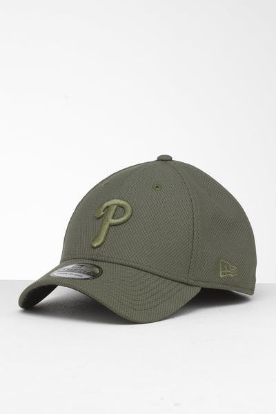 wholesale dealer 9c9d8 57495 New Era Philadelphia Phillies 39THIRTY Stretch Fit Olive ...