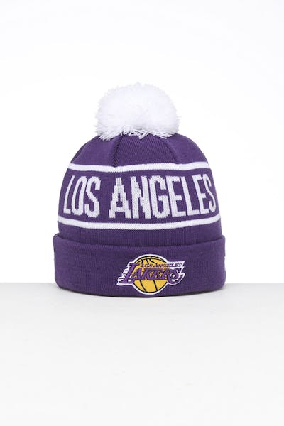 New Era Los Angeles Lakers 6Dart Pom Knit Beanie Purple