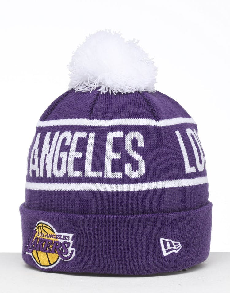 fa1c27414 New Era Los Angeles Lakers 6Dart Pom Knit Beanie Purple